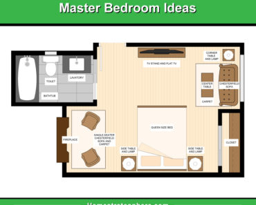 Floor plan illustration of master bedroom furniture layout