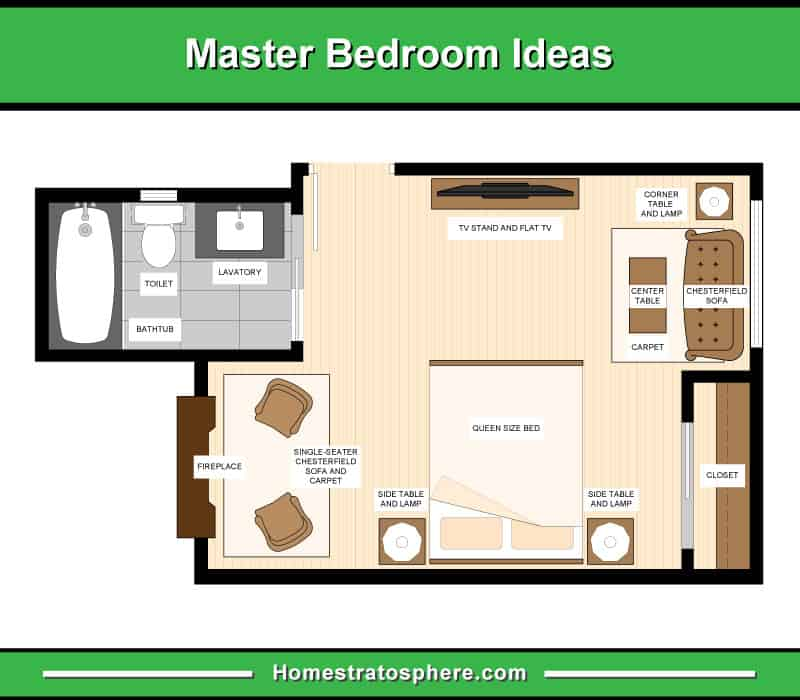Floor plan illustration of primary bedroom furniture layout