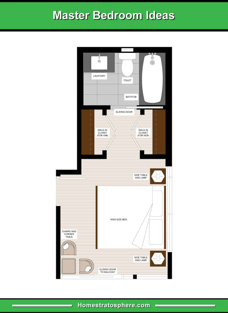 Long and Narrow Primary Bedroom Layout with a Seating Area, 2 Walk-In Closets for Him and for Her, and En-Suite Bathroom