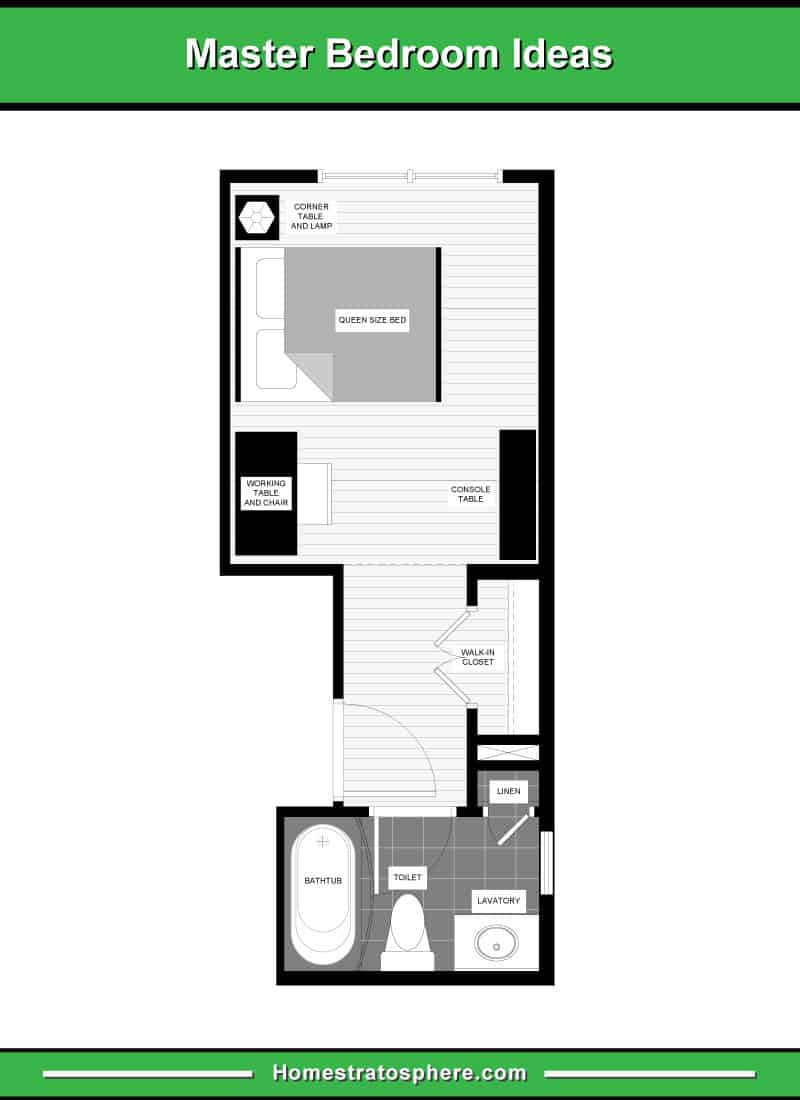 Long and Narrow Primary Bedroom Layout with Small Home Office, Walk-In Closet, and En-Suite Bathroom