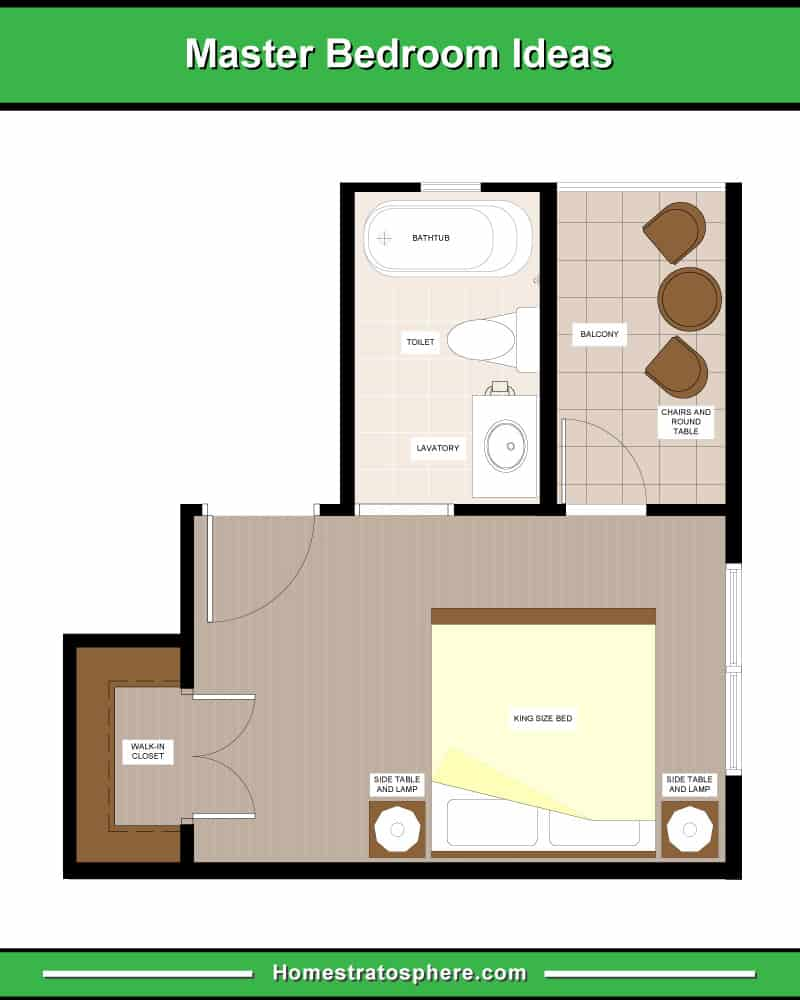 King Size Bed Facing the En-Suite Bathroom and Balcony with Walk-In Closet to the Left Side
