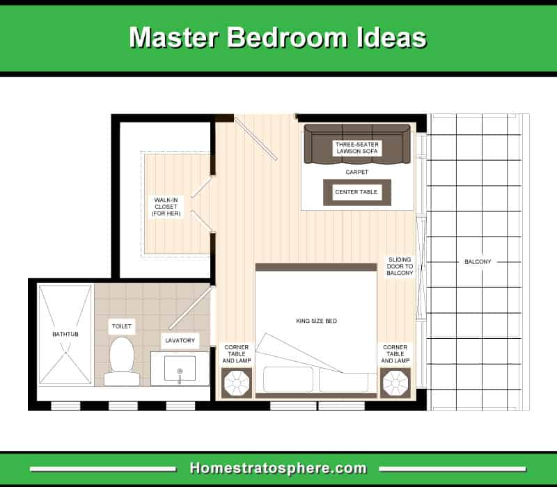 En-suite Bathroom and Walk-In Closet at the Left Side with a Three-Seater Sofa and Center Table Facing the Bed and a Sliding Door at the Right Side Leading to the Balcony