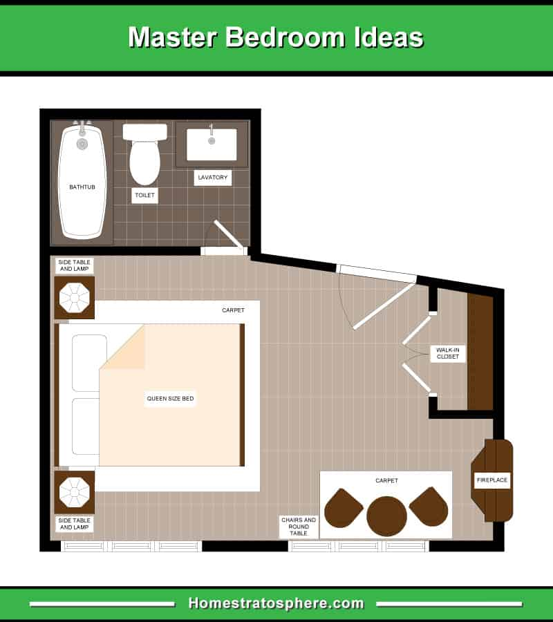 13 Master Bedroom Floor Plans (Computer Drawings)