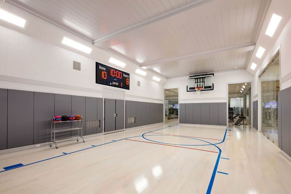 State-of-the-art indoor sports court and home gym.