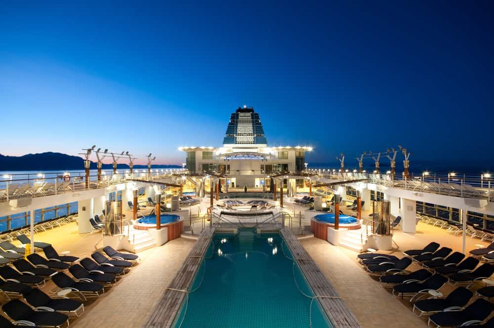 Deck of an Alaskan Cruise Ship at dusk