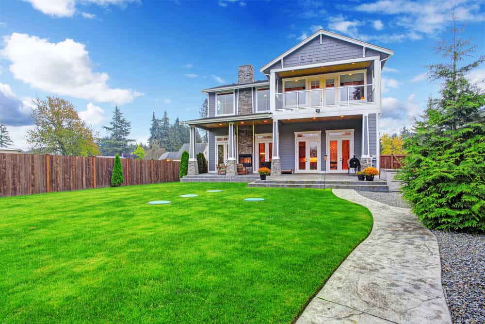 Front yard with long walkway