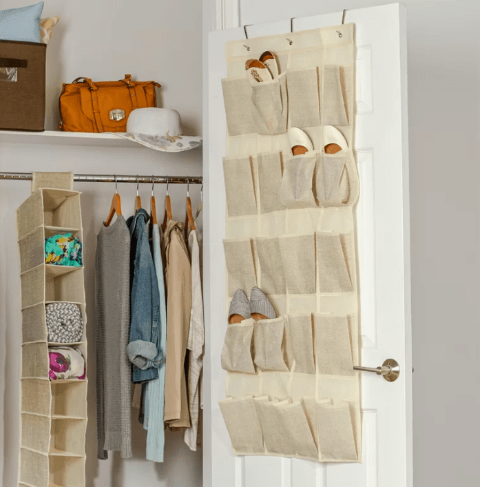 Hanging over the door pocket style shoe organizer