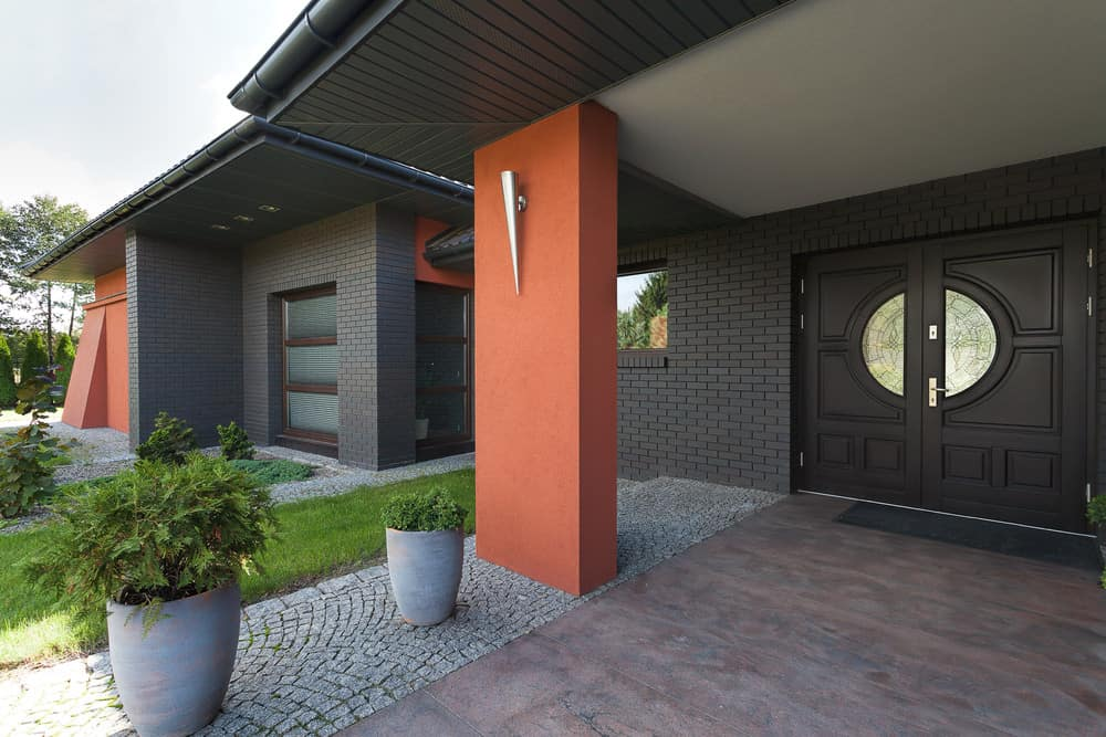 Modern front door with half circle glass windows