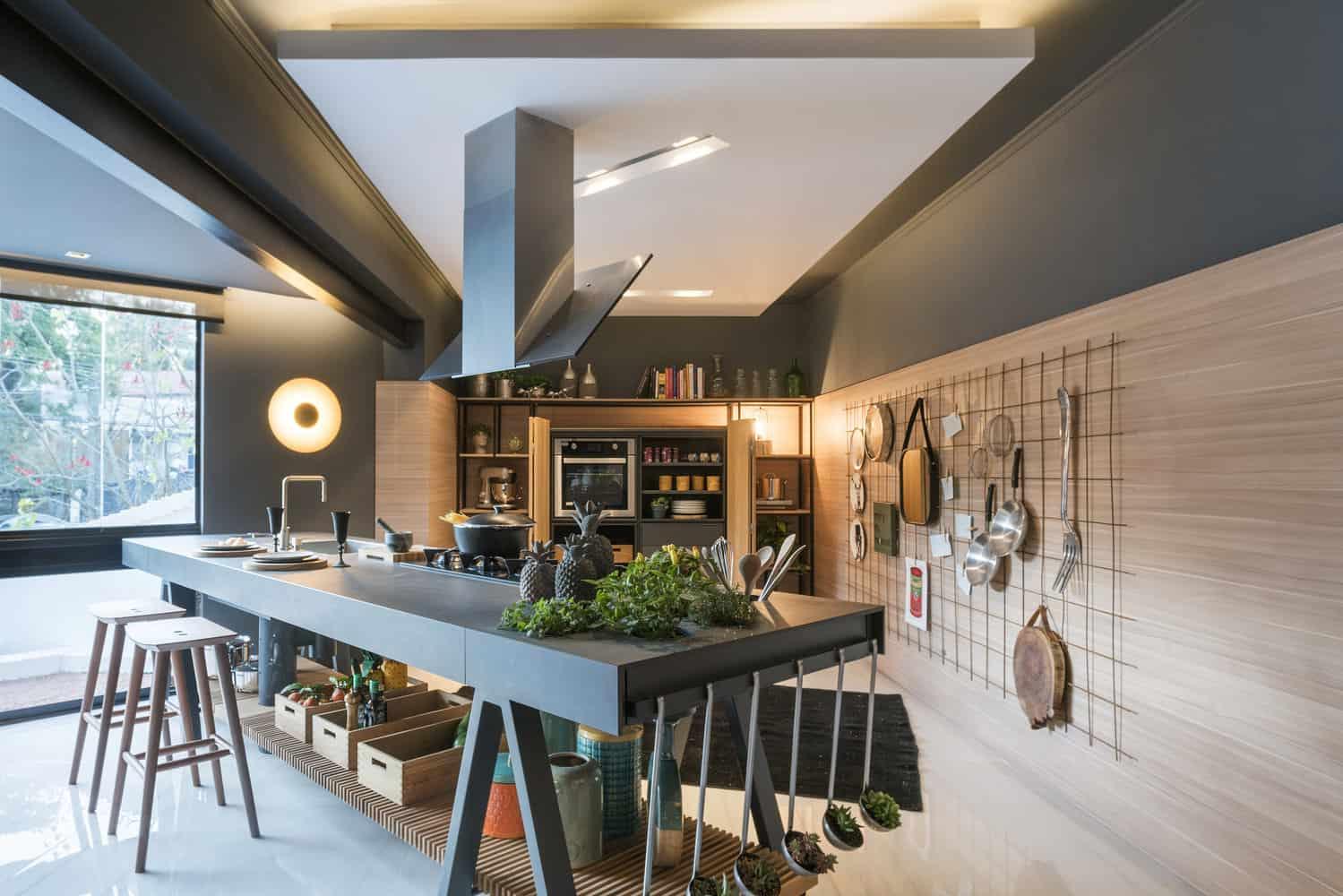 Modern kitchen no cabinets