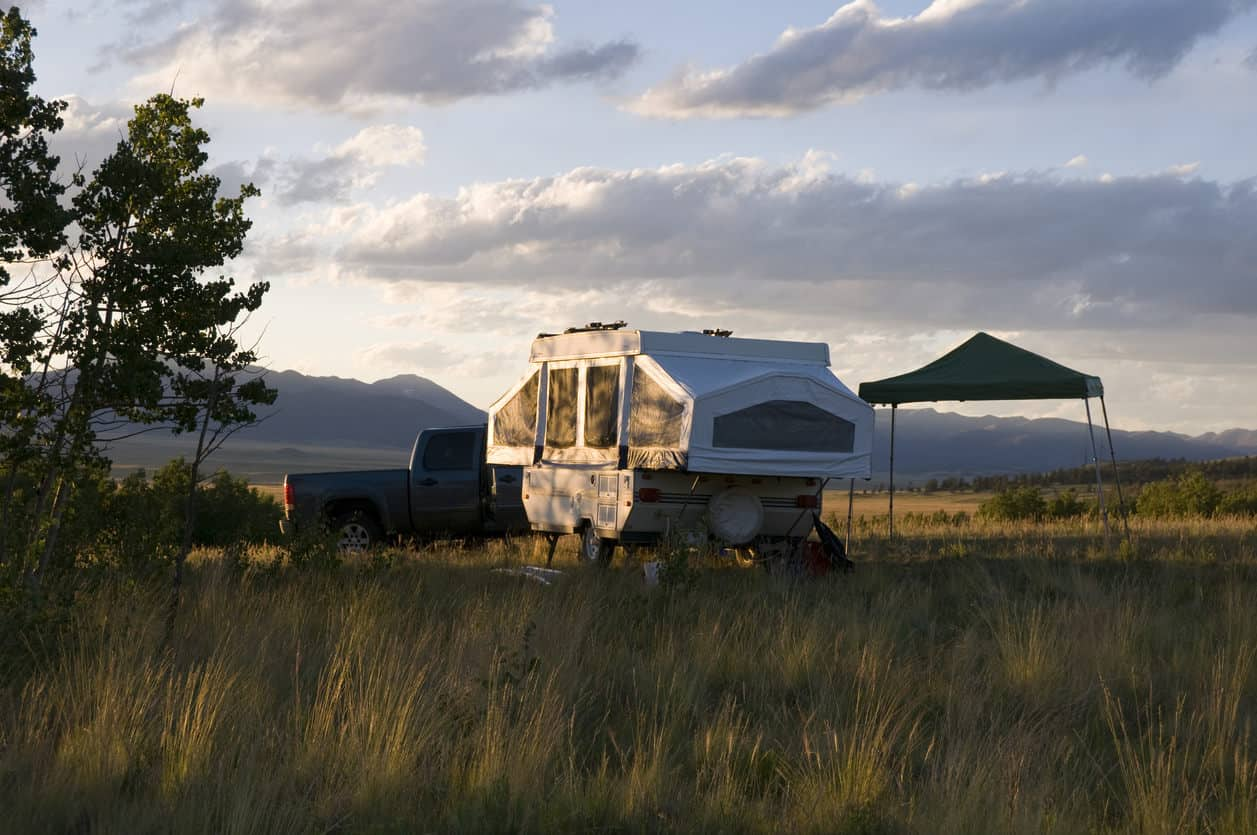 Pop-up tent trailer at sunrise