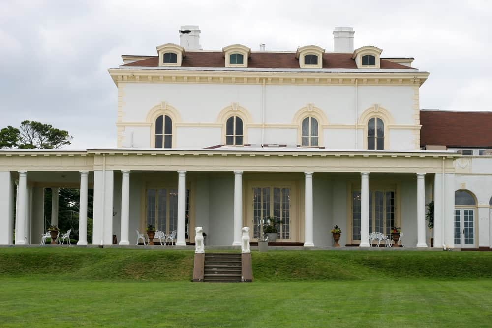 The rear of the Beechwood Mansion in Newport RI