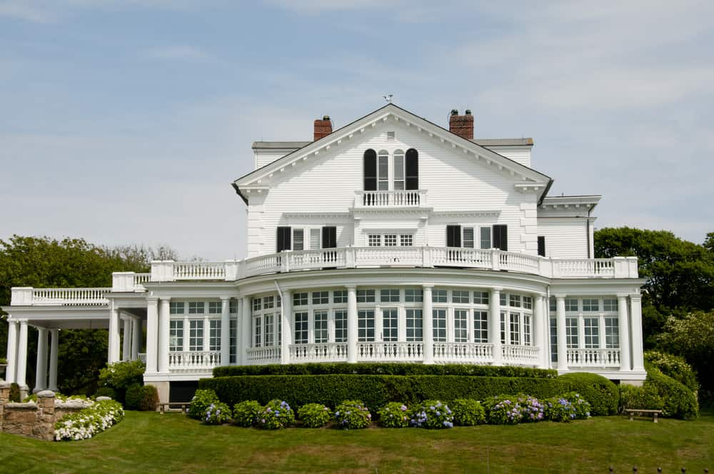 Crossways white mansion on sheep point cove in Newport, RI