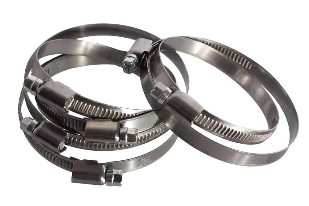 Stainless steel band clamps on white background.