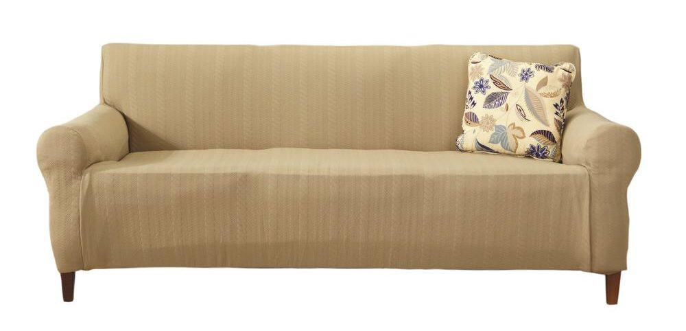 Beige sofa slipcover made of polyester.