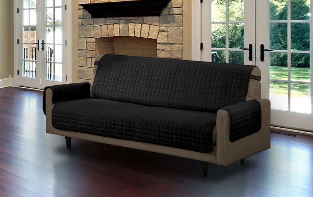 Black, microfiber sofa slipcover.
