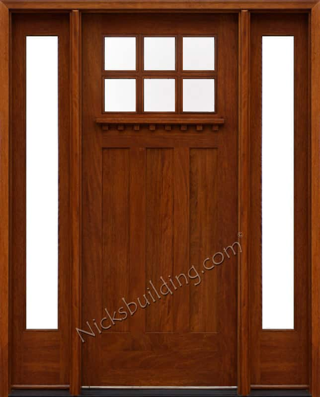 Craftsman style wood door with glass windows