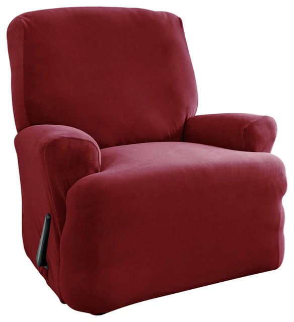 Dark red slipcover for a single recliner sofa.