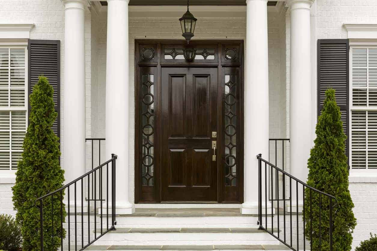 Dark wooden front entry door