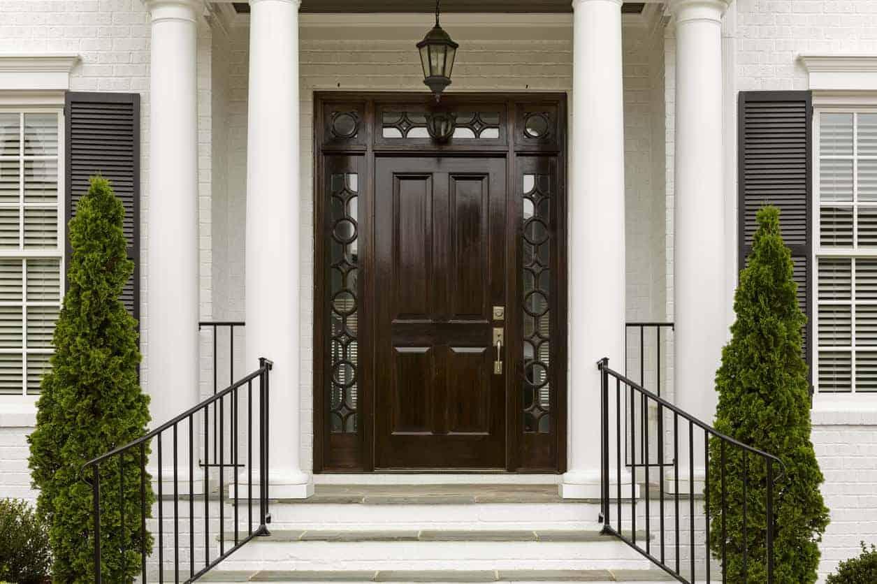 Dark wooden front entry door