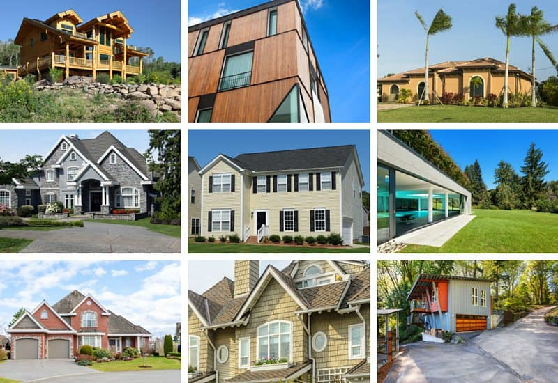 Houses with different exterior siding options