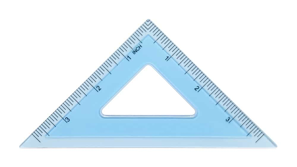 Drafting triangle on white background.