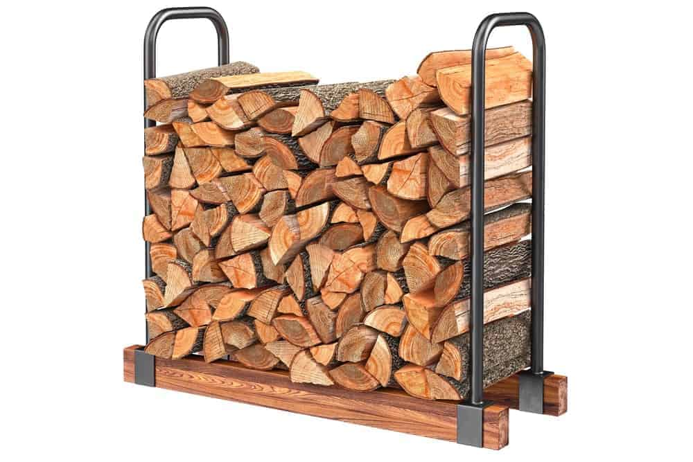 Stainless steel firewood log rack with wooden base full of chopped logs.