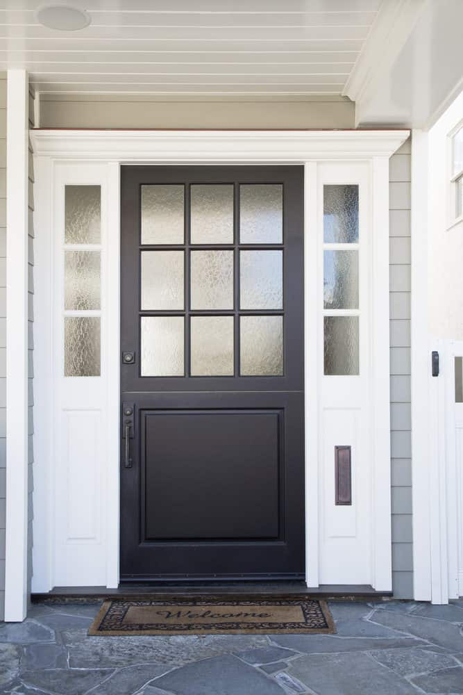 Modern front entry door with frosted glass window