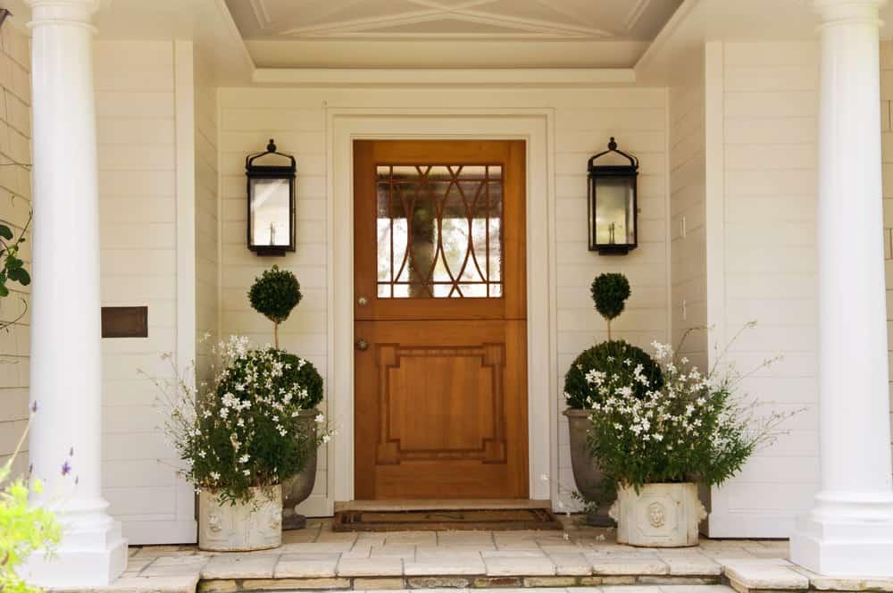 Glass and wood front door