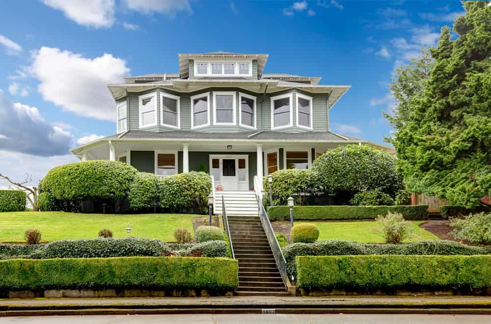 Gray house with white trim