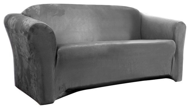 Gray, suede love seat slipcover.