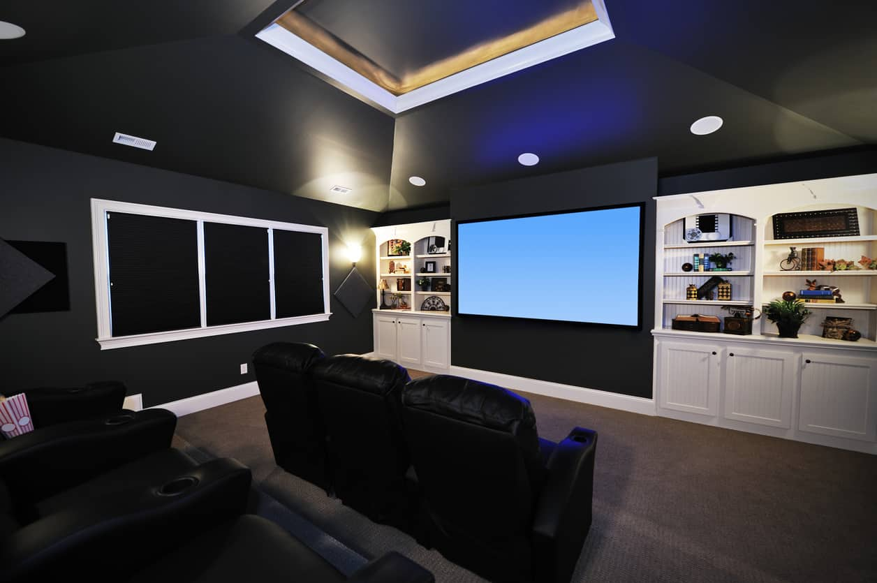 Hereu0027s A More Casual Home Theater Room With Black Walls And Ceiling And  Then A Wall
