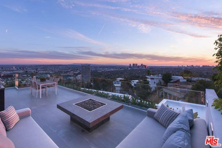 Another view at the home's rooftop overlooking the beautiful Los Angeles city.