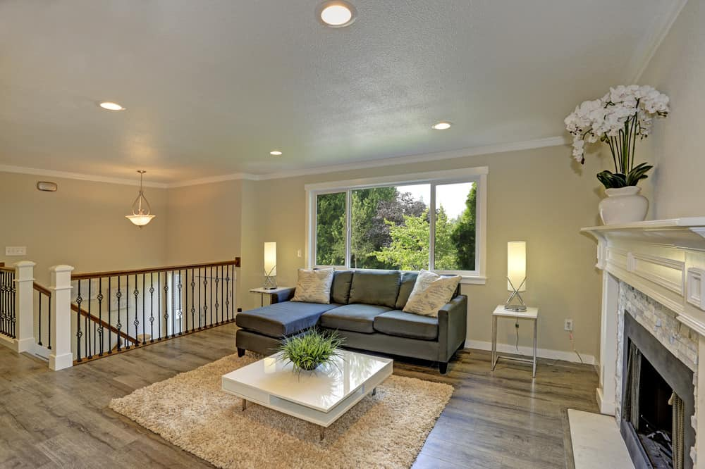 Landing at top of stairs with small family room area