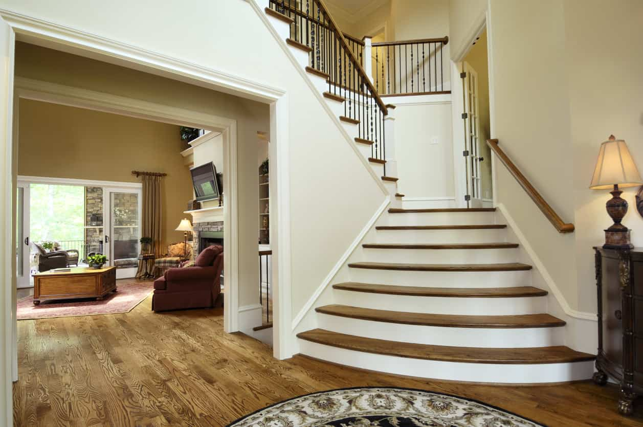 Large front entry foyer in luxury home