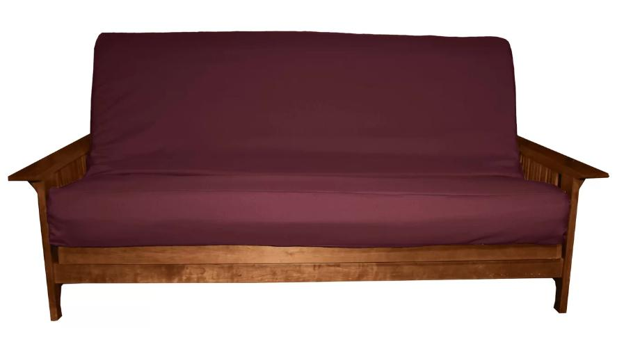 Futon slipcover in maroon.