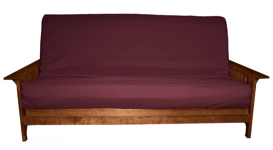 Futon slipcover in maroon.