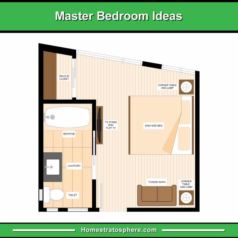 Primary bedroom floor plan example (diagram)