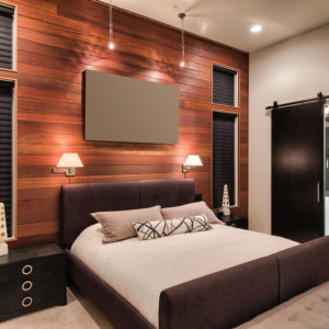 Modern primary bedroom with wood accent wall and contemporary furniture