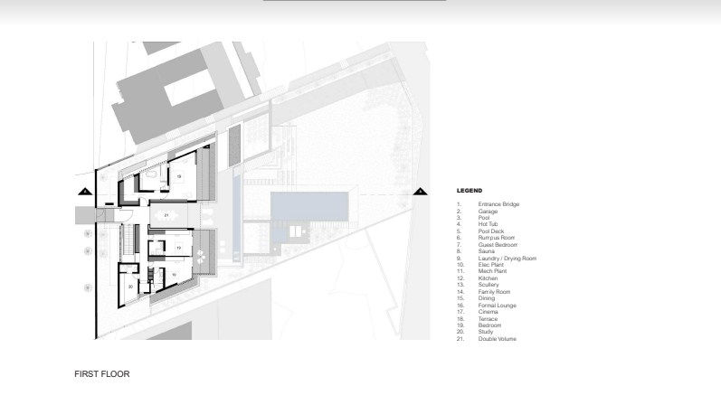 Photograph of the home's architectural plan. Photo Credit: Justin Alexander