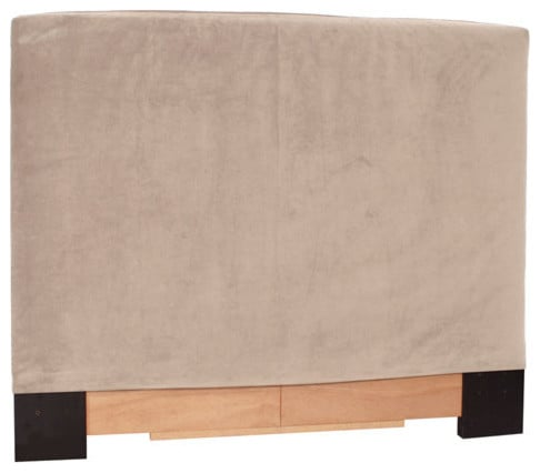 Pink, headboard slipcover for queen-size bed.