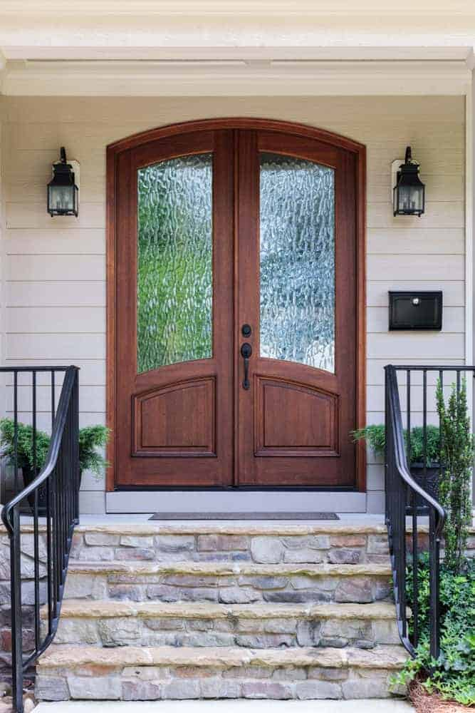 Solid wood and glass front entry door