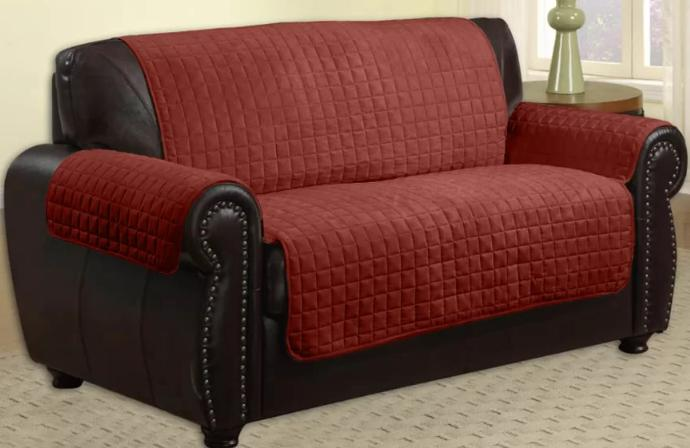 Red slipcover with a hook and lock.
