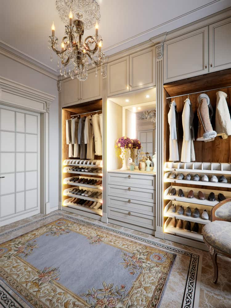 shoe storage in a walk-in-closet