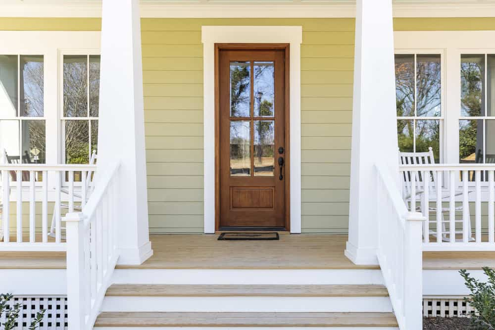 Single front door with large glass window