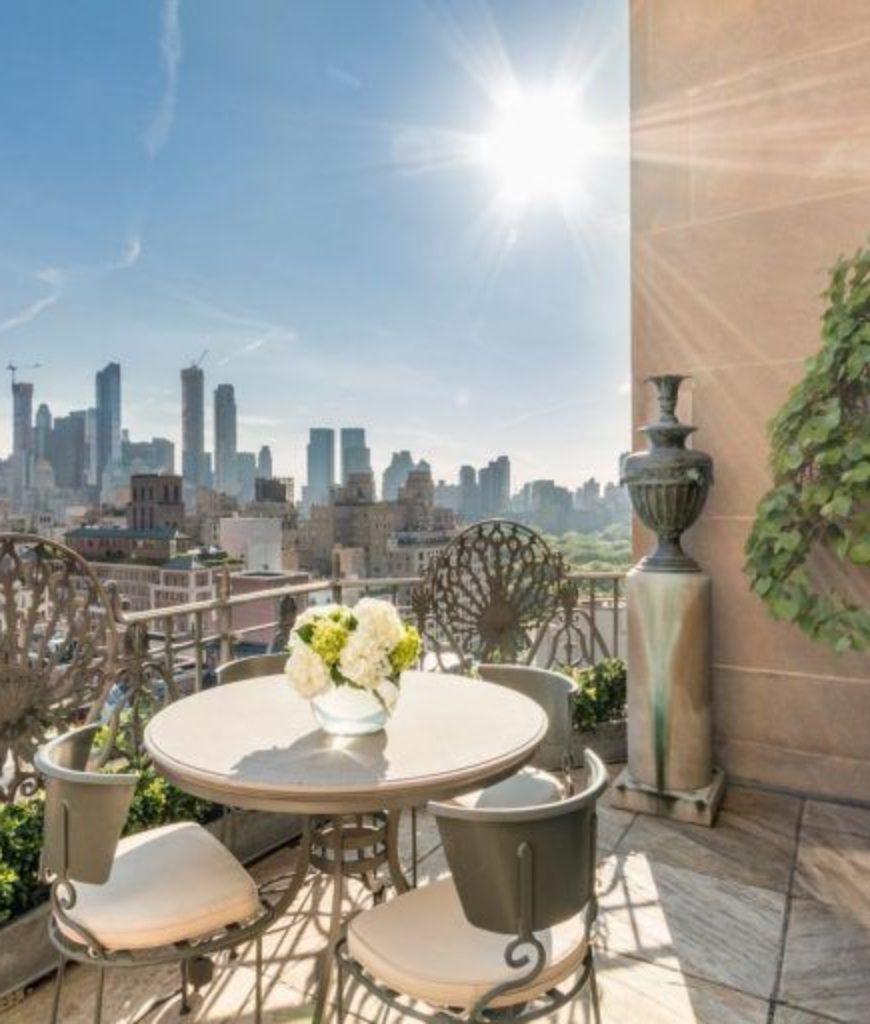 The terrace overlooks the beautiful Manhattan neighborhood.