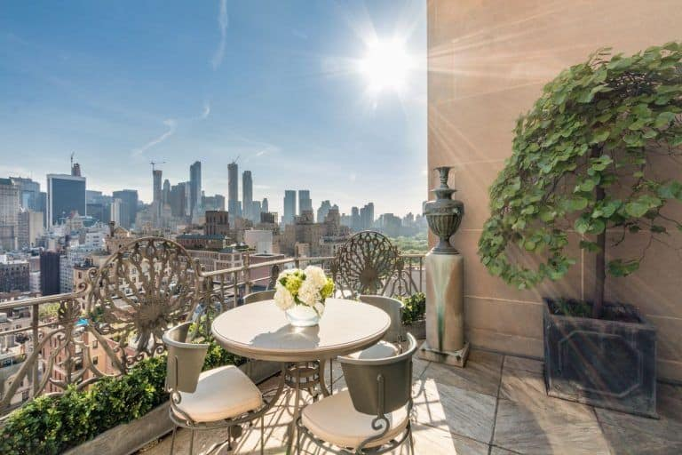 The terrace overlooks the beautiful Manhattan neighborhood.