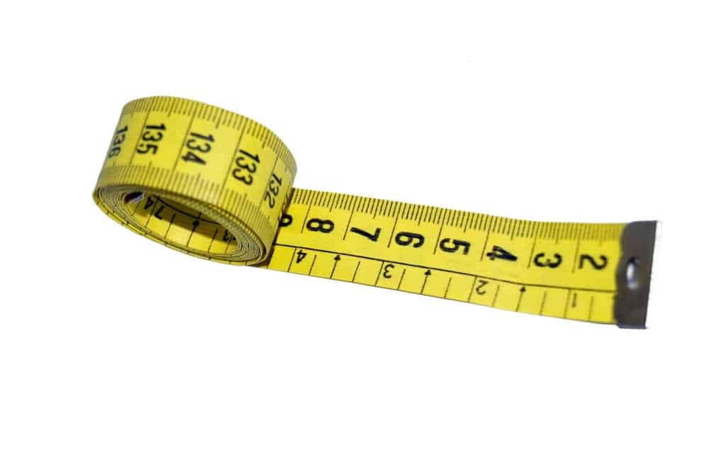 Tape measure on white background.