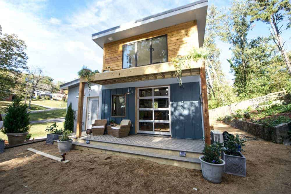 Gray-exterior tiny home with a modish look.