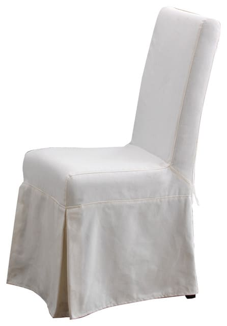 White dining chair slipcover.