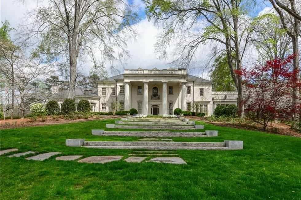 A view from the back of the newly restored 1926 White Oaks Mansion.